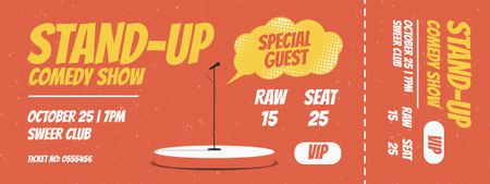 Comedy Show with Microphone on Stage Ticket – шаблон для дизайну