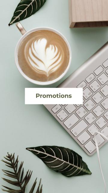 Coffee on modern Office Table Instagram Highlight Cover Modelo de Design