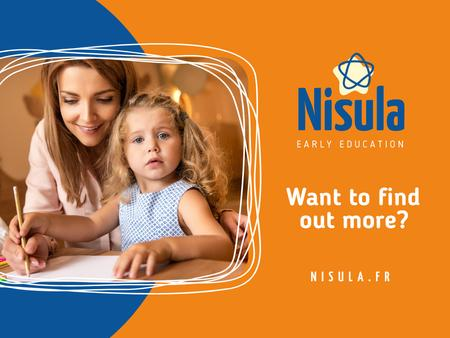 Early Education Courses with Mom and Daughter Studying Presentation tervezősablon