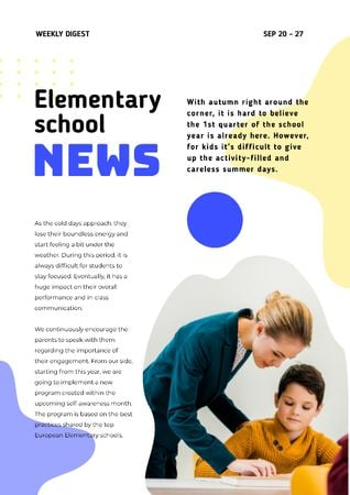 Elementary School News with Teacher and Pupil Newsletter Modelo de Design